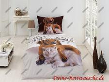 Hund und Katze Bettwäsche Bettbezug Tiere Kinderbettwäsche Weihnachtsgeschenk