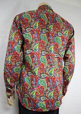 Mens Vtg 70s Style Boho Psychedelic Hippie Prince Crazy Paisley Festival Shirt