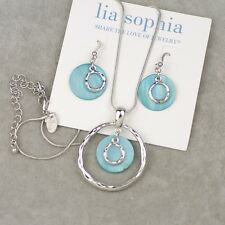 Lia sophia jewelry set blue shell pendant necklace drop earrings silver tone