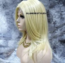 """25"""" Straight Layered Bleach Blonde Full Lace Front Heat Ok Hair Piece #613 NWT"""