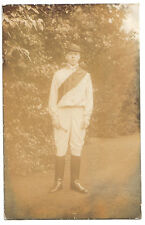UNKNOWN HORSE RIDER JOCKEY RACE RACING RIDING equestrian OLD RP PHOTO POSTCARD