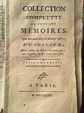 Rare Marie Antoinette 1786 Affaire du collier de la Reine Fages Vaucher Loque