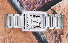 Onorevoli Cartier Tank Francese, splendidamente Set con molto pulito WHITE DIAMONDS.