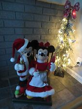"TELCO Animated Disney Store 24"" Vintage 90's MICKEY/MINNIE MOUSE Santa Christmas"