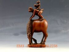 Chinese Wood carved Hand-carved Statue -- Monkey on the horse马上封侯