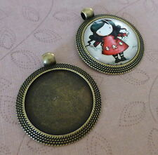 8 pcs - Antique bronze large alloy round setting with bail, cabochon base 25mm