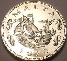 Large Rare Proof Malta 1978 10 Cents~Barge Of The Grand Master~3,244 Minted~Fr/S