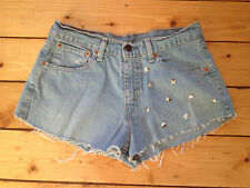 LEVIS 584 87 RED TAB LADIES REWORKED LIGHT BLUE DENIM HOTPANTS / SHORTS W30