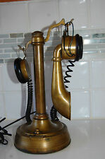 ANTIQUE RARE FRENCH BRASS CANDLESTICK TELEPHONE SYSTEM BERLINER BY BURGUNDER
