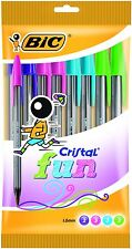10 BIC CRISTAL FUN FASHION COLOURS BALL POINT PENS PASTEL PINK PURPLE BLUE GREEN