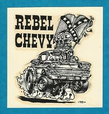 """VINTAGE ORIGINAL 1966 ED ROTH """"REBEL CHEVY"""" FULL-BLOWN '58 CHEVY WATER DECAL ART"""