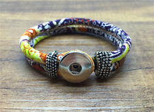 DIY Handmade Leather Bracelets Drill Fit For Noosa Snaps Chunk Charm Button FF08