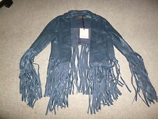BNWT KATE MOSS BLUE FRINGED LEATHER JACKET, UK6, TOPSHOP, US2.