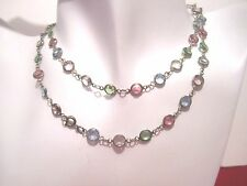 Vintage Austrian Swarovski Crystal 5-Color Multi Pastel Bezel Set Necklace