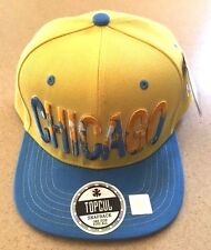 TopCul Urban Chicago Yellow Baby Blue SnapBack Baseball Cap Hat One Size New