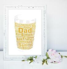 PERSONALISED PINT GLASS WORD ART  BIRTHDAY FATHERS DAY BEST  DAD SON GRANDAD