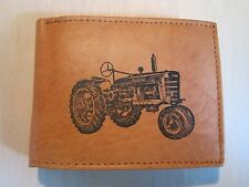 """Mankind Wallets-Men's Tan Leather Billfold with FREE """"IH Farmall Tractor"""" Image"""