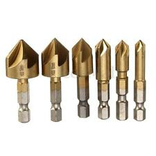 6PCS 5 Flute Countersink Drill Bit Set 90° Counter Sink Chamfer Cutter 1/4''