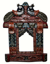 Vintage Wooden Jharokha Hand Carved Peacock Red Home Wall Decor Picture Frame
