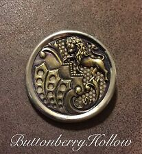 Victorian Vintage Antique Lion Rampant Metal Button 1 1/2""