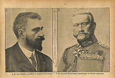 Field marshal Hindenburg Germany's Chief of  General Staff WWI 1916 ILLUSTRATION