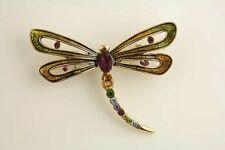 VINTAGE Monet GOLD TONE Enamel RHINESTONE BUTTERFLY BROOCH -J9331