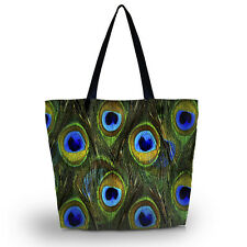 Peacock Feather Soft Foldable Tote Women Shopping Bag Shoulder Bag Lady Handbag