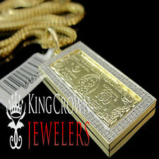 Real Diamond 10k Yellow Gold Finish One 100 Hundred Dollar Bill Money Pendant