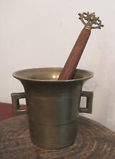 antique heavy solid brass ornate wood mortar pestle spice grinder apothecary old
