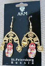 Russian traditional gold color metal earrings dolls old style