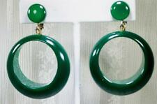Moonglow Hoop Earrings Early Plastic Translucent Green Dangle Clips Mid Century