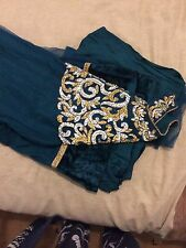 Teal Coloured Asian Wedding Party Dress Size Small