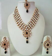 Indian Bollywood Designer Women's Black Kundan Pearls Fashion Jewelry Sets