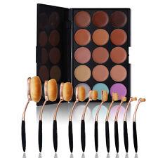 10tlg Kosmetik Foundation Oval Pinsel Makeup Zahnbürste Set + Schminke Palette