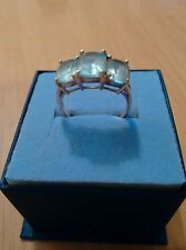 9ct yellow gold blue topaz trilogy ring