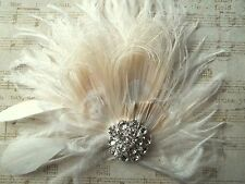 Wedding Accessory IVORY feather bridal fascinator hair clip womens bride mother