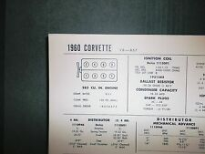 1960 Chevrolet Corvette 283 V8 CI 4BBl & 2x4BBL SUN Tune Up Chart Great Shape!