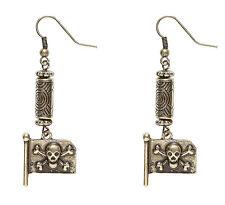 Piraten Ohrringe mit Totenkopfflagge NEU - Zubehör Accessoire Karneval Fasching