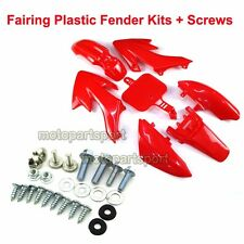 Red Plastic Fairing Fender Body Kits + Screws For Honda CRF50 XR50 Dirt Pit Bike