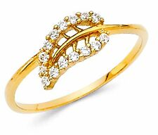 Real Solid 14k Yellow Gold Ring 0.40 CT Leaf Style Ring band