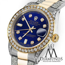 Women's 31mm Rolex Oyster Perpetual Datejust Custom Blue Color Diamond Dial