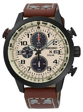 New Seiko SSC425 Prospex X Solar Chronograph Black Ion Leather Strap Men's Watch