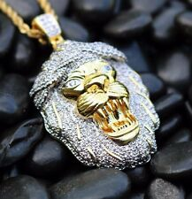 "Mens Gold Iced Out Mini Lion Pendant Piece And 24"" Rope Chain Necklace"