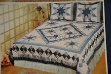 Free Shipping *QUILTS *DELFT BLUE STAR QUILT QUEEN **