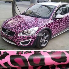 "60""x20"" Air Pink Leopard Grain Vinyl Film Wrap Car Body Color Changing Sticker"