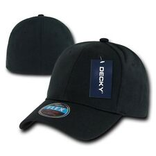 Black Plain Solid Blank Flex  Baseball Fit Fitted Ball Cap Caps Hat Hats OSFA