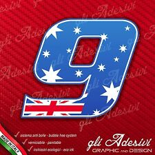 Adesivo Stickers NUMERO 9 moto auto cross gara Australia