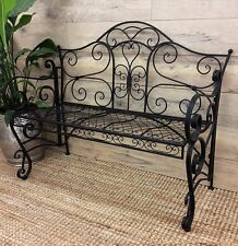 PROVINCIAL GARDEN BENCH SEAT CHAIR OUTDOOR IRON METAL 2 SEATER FURNITURE BLACK
