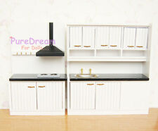 Dollhouse  Kitchen Furniture Set 2PCS Cabinet with Sink and Stove Ventilator