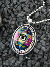 All Seeing Eye Spirit Ouija Board Silver Glass Horror Halloween Occult Necklace